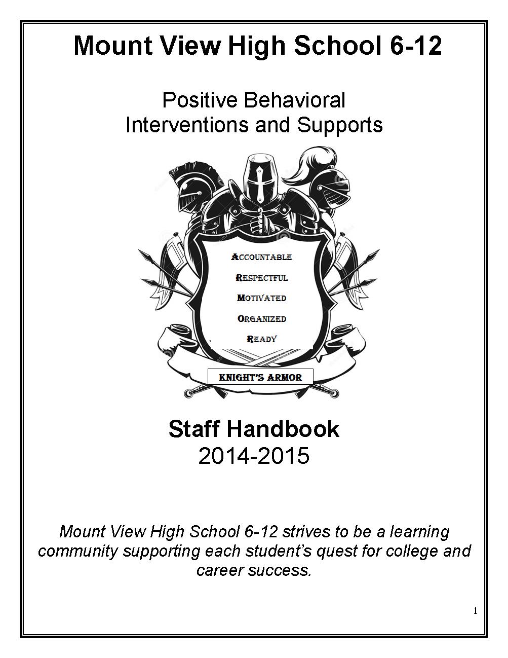 MVHS PBIS Staff Handbook Cover